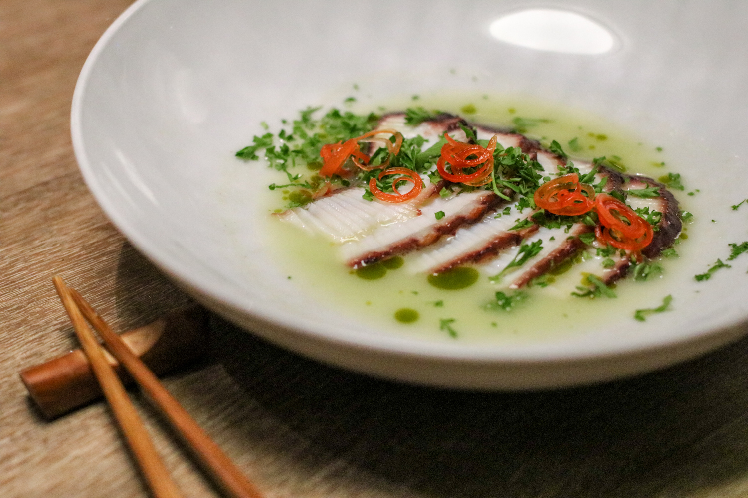 Tako Wasabi with octopus, fresno peppers, parsley and citrus wasabi